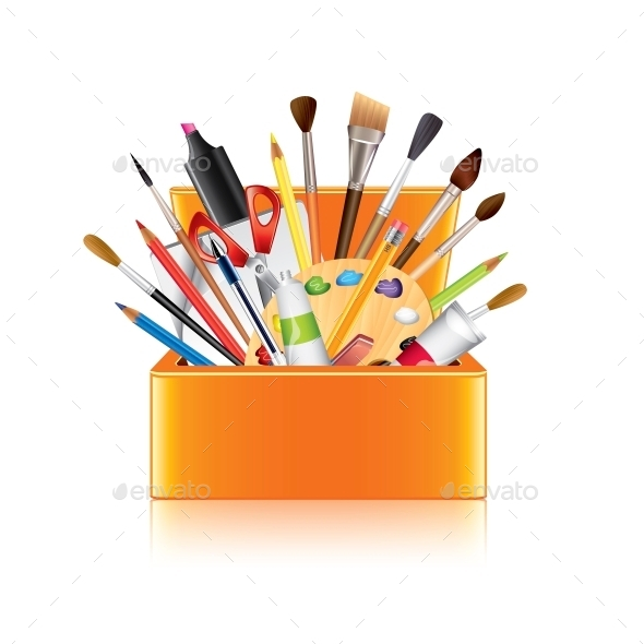 Art Supplies Box - Man-made Objects Objects