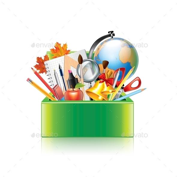 School Supplies Box - Miscellaneous Vectors