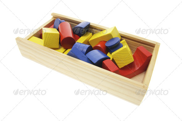 Wooden Building Blocks in Box - Stock Photo - Images