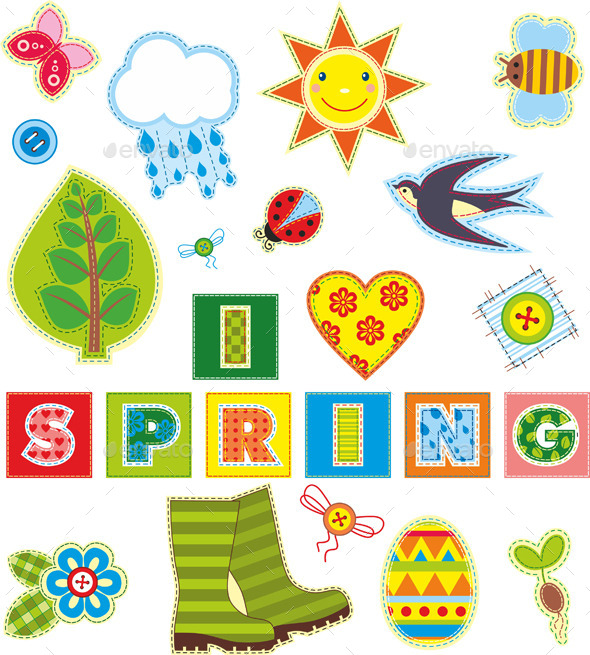 Spring Textile Elements Set - Decorative Vectors