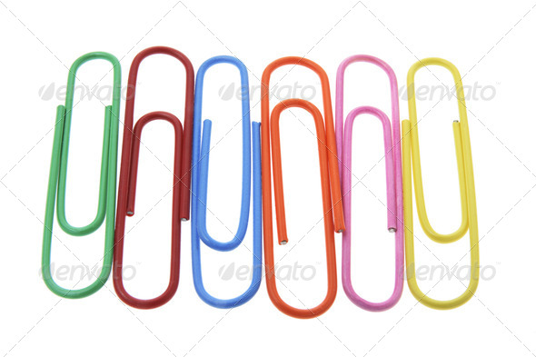 Row of Paper Clips - Stock Photo - Images