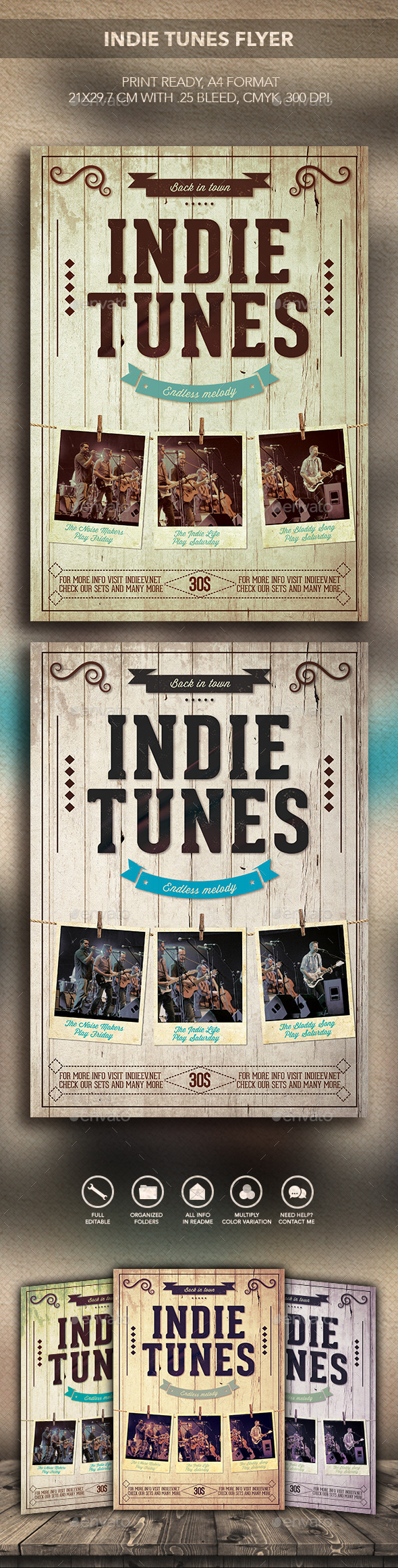 Indie tunes Flyer - Flyers Print Templates