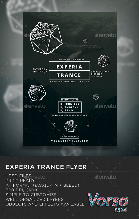 Experia Trance Flyer - Clubs & Parties Events