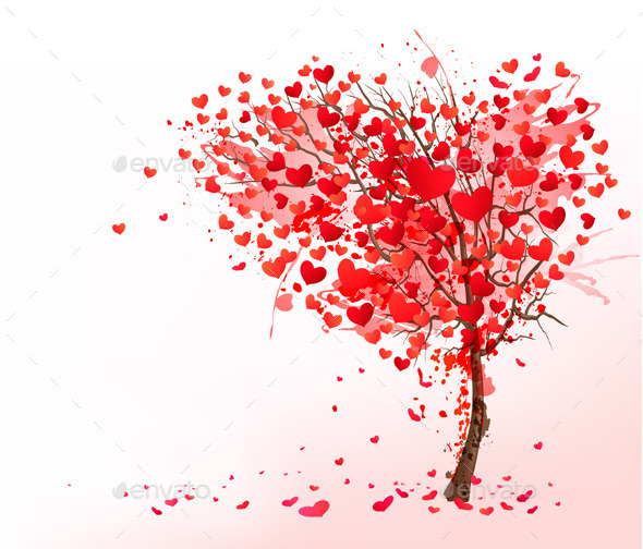 Valentine Background with Heart Shaped Tree - Valentines Seasons/Holidays
