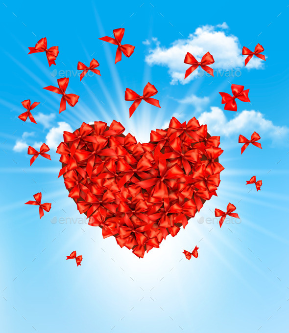 Valentines Heart Made of Red Bows - Valentines Seasons/Holidays