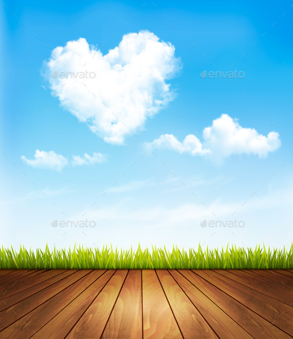 Nature Background with a Blue Sky and Heart - Nature Conceptual
