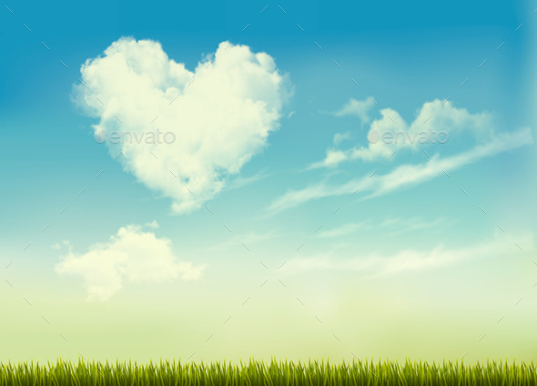 Retro Nature Background with Blue Sky with Hearts  - Nature Conceptual