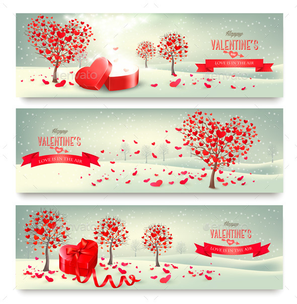 Holiday Retro Banners Valentine Trees with Heart - Valentines Seasons/Holidays