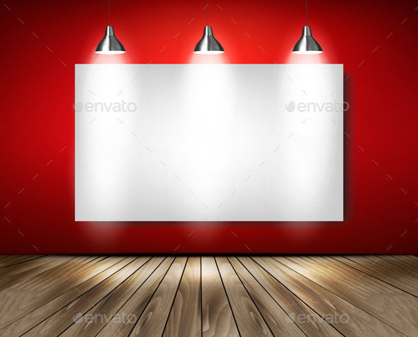 Red Room with Spotlights and Wooden Floor - Backgrounds Business