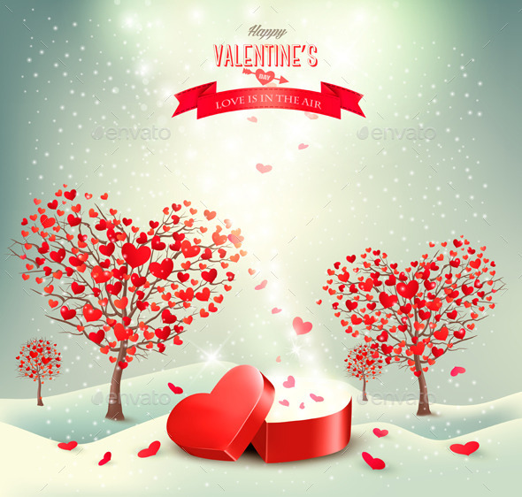 Holiday Background with Valentine Trees   - Valentines Seasons/Holidays