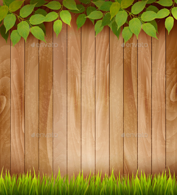 Natural Wooden Background with Leaves and Grass  - Borders Decorative