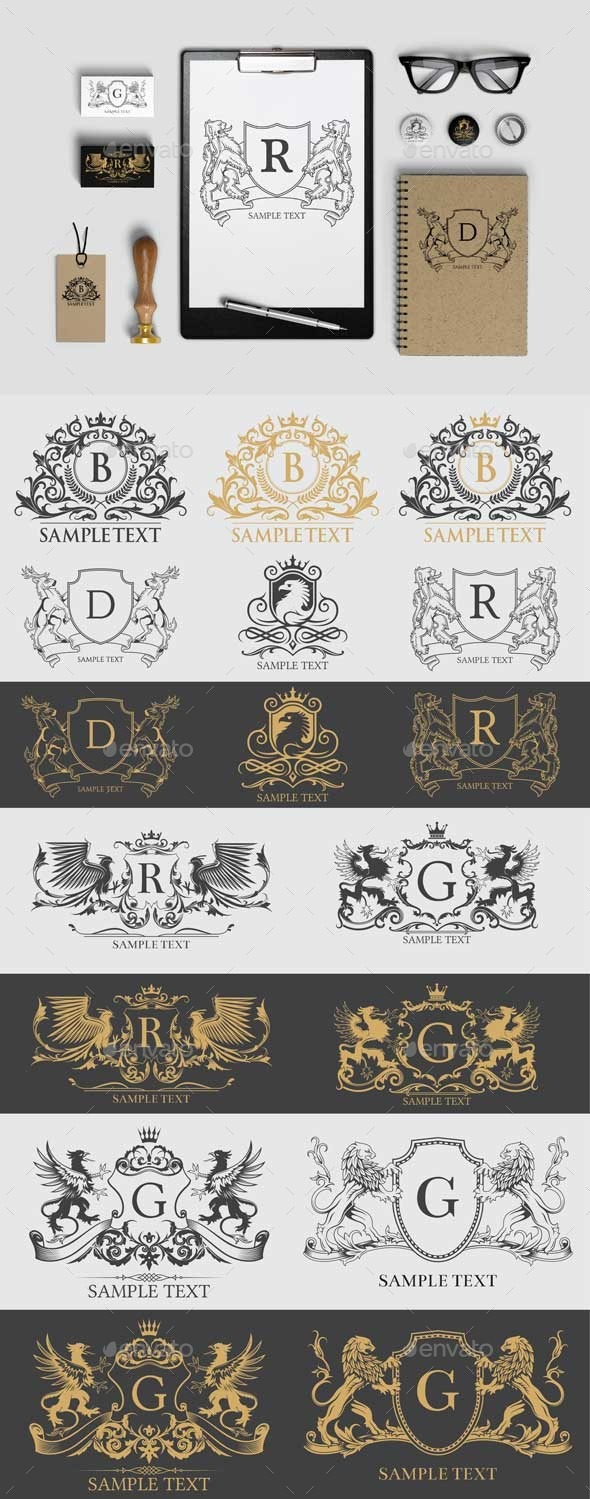 8 Emblem Vector - Heraldy Theme - Decorative Vectors