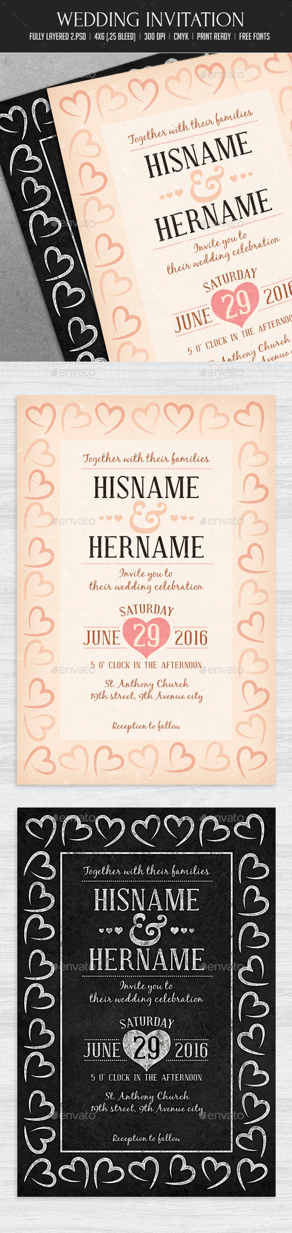 Vintage/ Chalk Wedding Invitation - Cards & Invites Print Templates