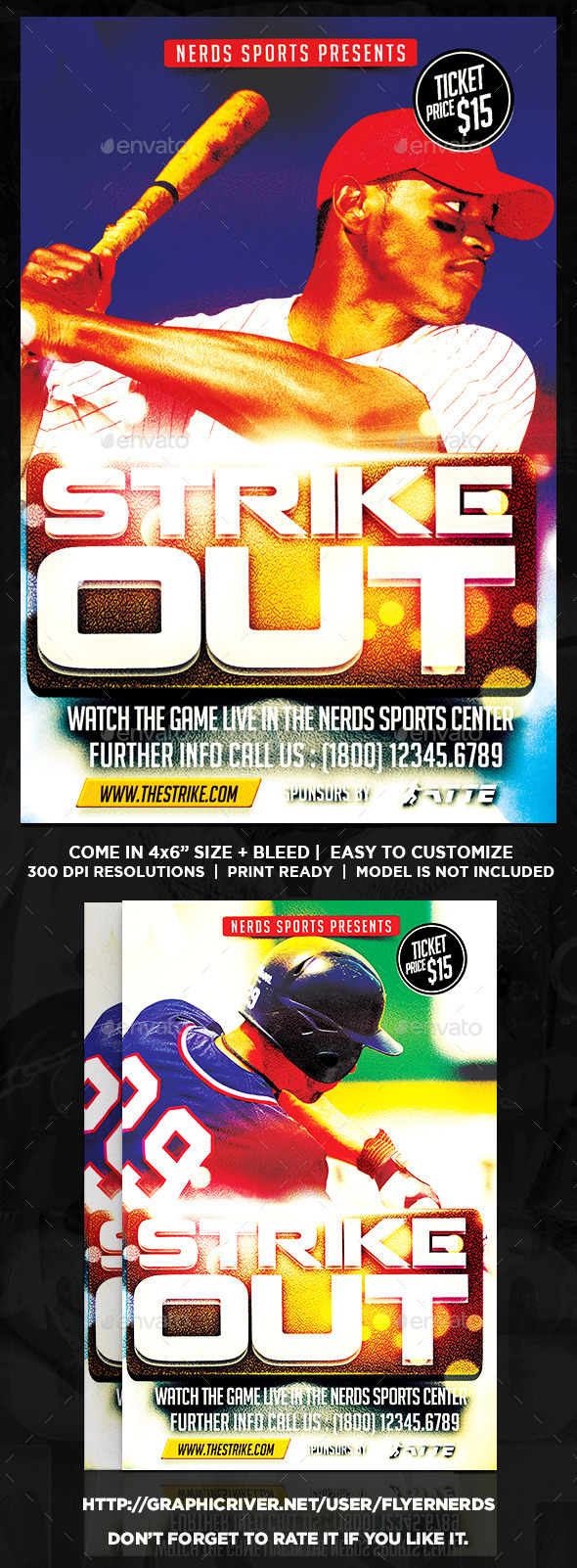 Strike Out Baseball Sports Flyer - Sports Events