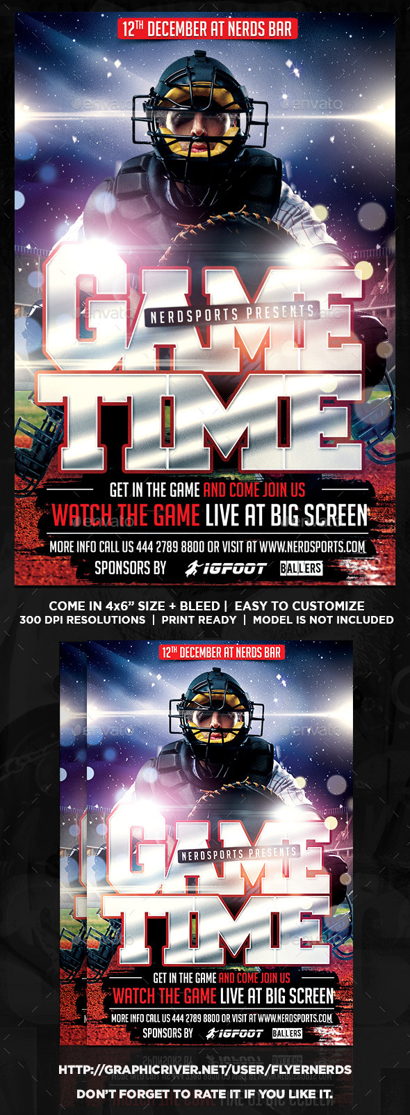 Game Time Baseball Sports Flyer - Sports Events