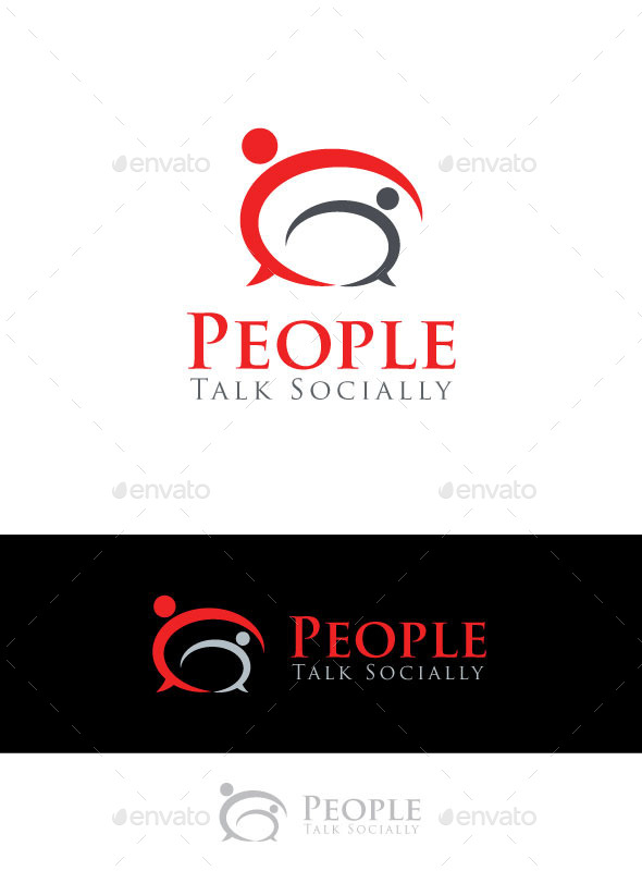 People Talk Socially  - Abstract Logo Templates