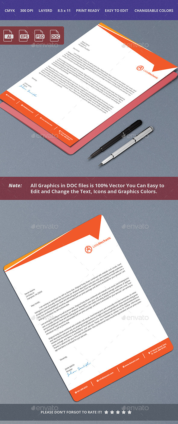 Clean Letterhead Design - Stationery Print Templates