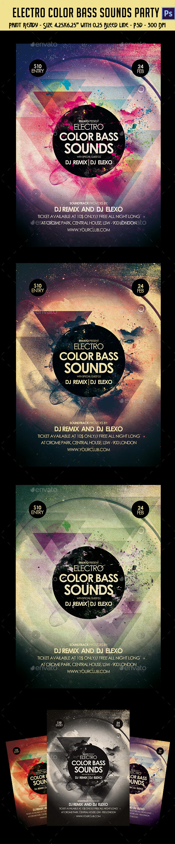 Electronic Color Bass Sounds Party Flyer - Clubs & Parties Events