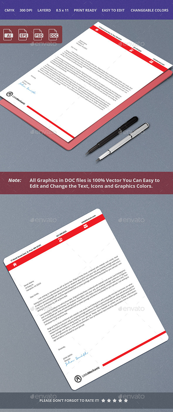 Simple and Crean Letterhead Design - Stationery Print Templates
