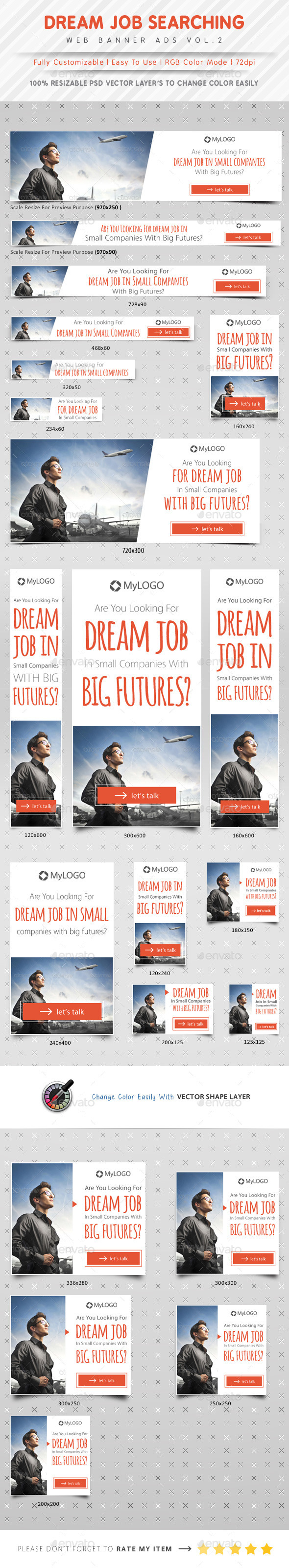 Job Searching Web Banner Ads Vol.2 - Banners & Ads Web Elements