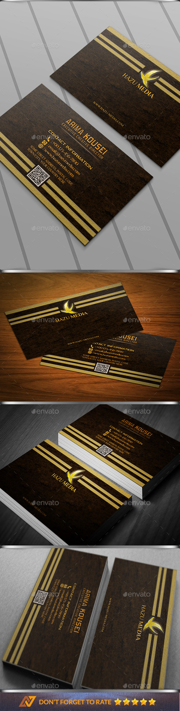 Simple Gold Corporate Bussiness Card - Business Cards Print Templates