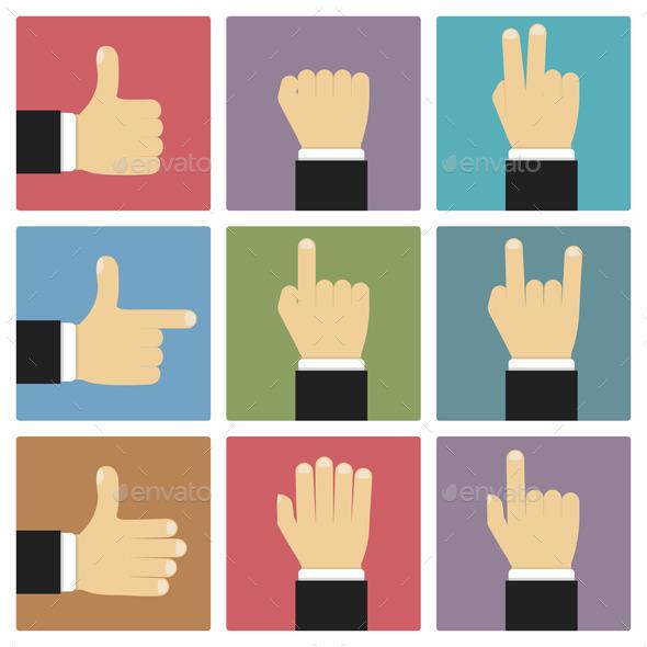 Flat Hands - Miscellaneous Vectors