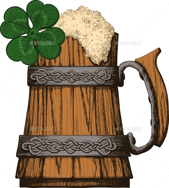 Irish Beer Mug - Decorative Symbols Decorative