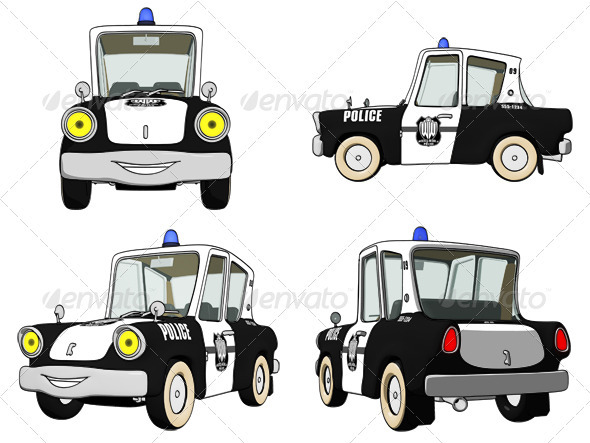 Cartoon Police Car - Objects Illustrations