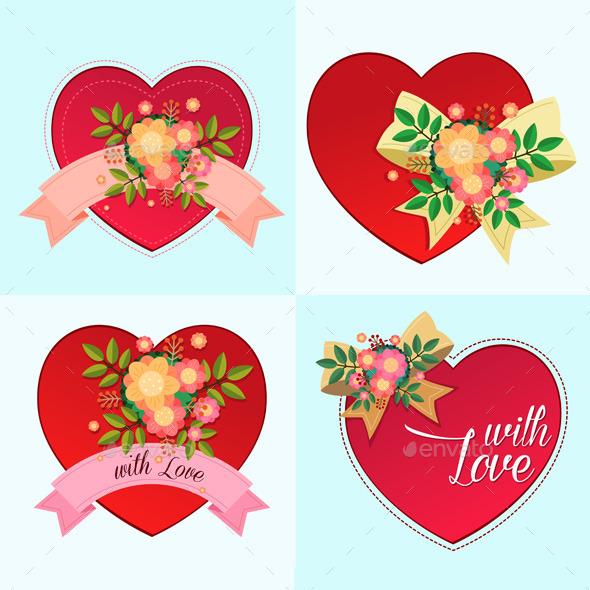 Various Decorative Heart Symbols - Flowers & Plants Nature