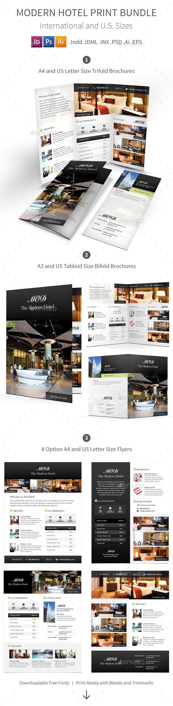 Modern Hotel Print Bundle - Informational Brochures