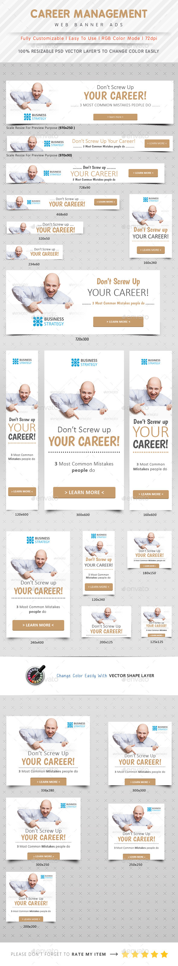 Career Management Web Banner Ads - Banners & Ads Web Elements