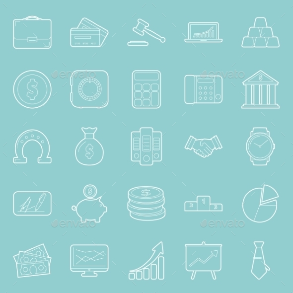 Buisiness and Finance Thin Lines Icons Set - Web Technology