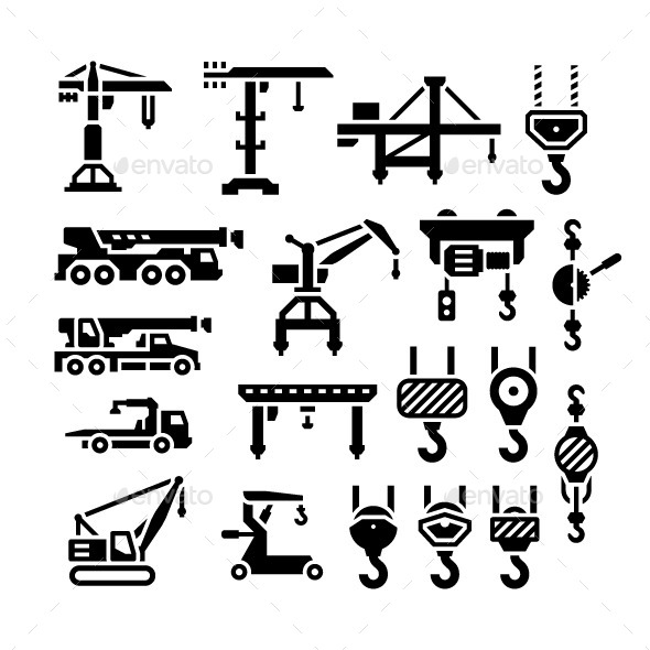 Set Icons of Crane, Lifts, Winches and Hooks - Man-made objects Objects