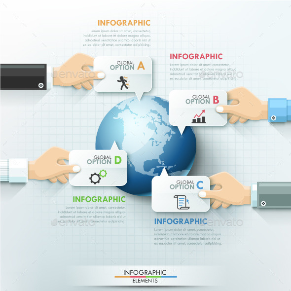 Business Hands Global Teamwork Infographics - Infographics