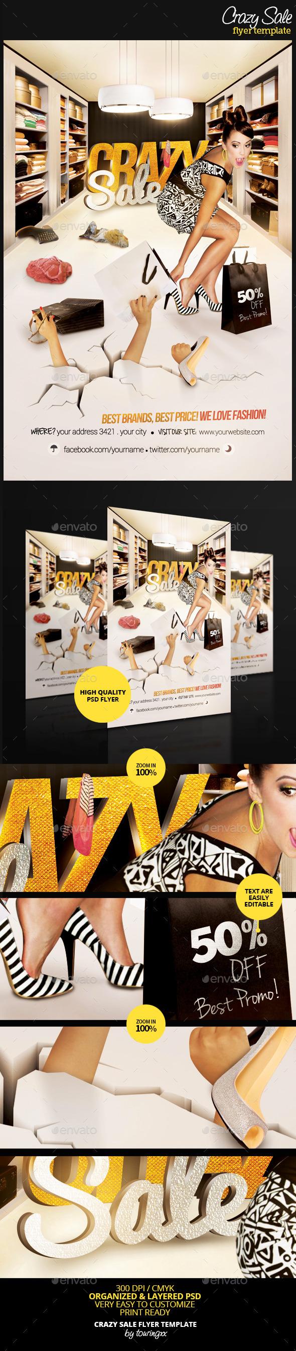 Crazy Sale Flyer Template - Flyers Print Templates