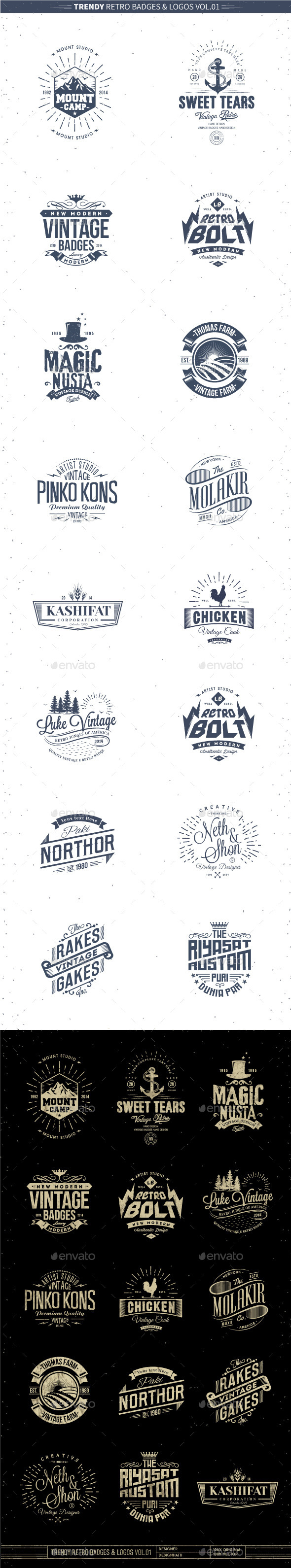 Trendy Retro Badges and Logos Vol.01 - Badges & Stickers Web Elements