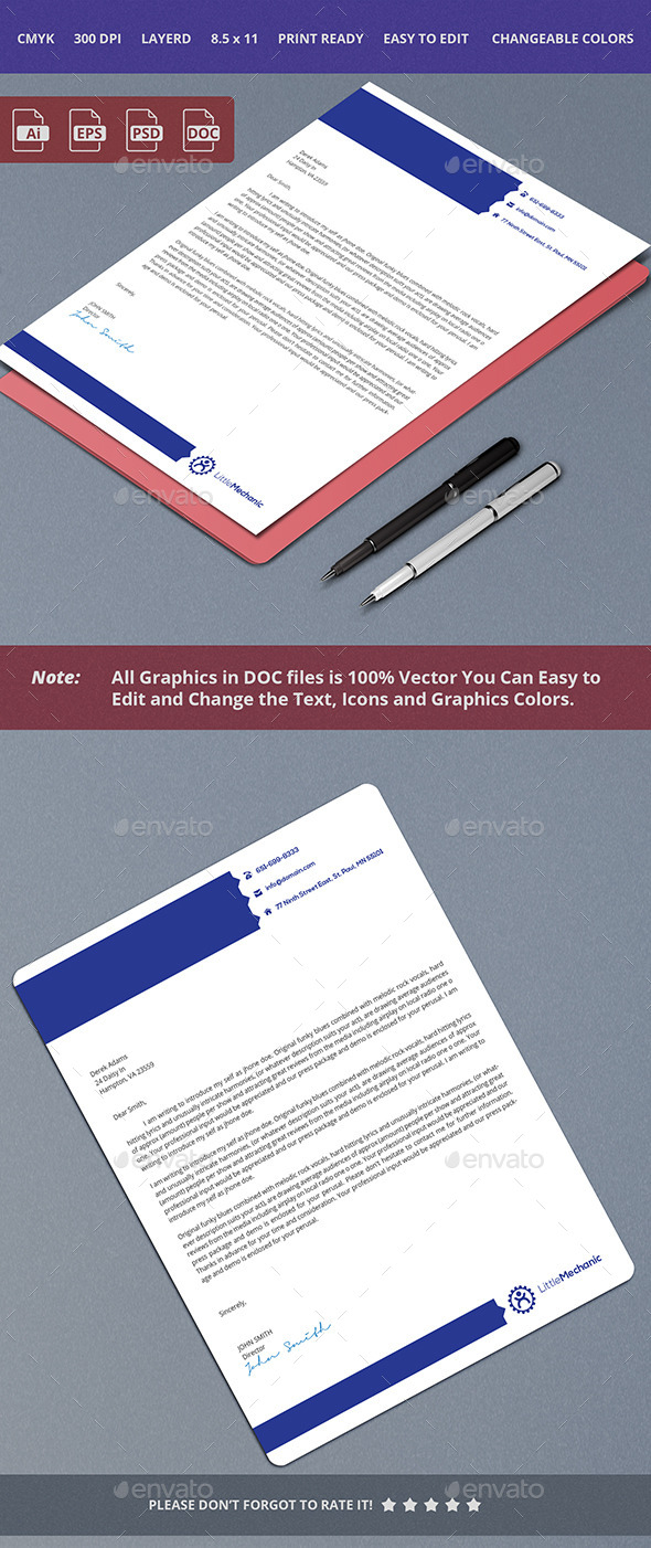Blue Letterhead Design - Stationery Print Templates