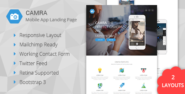 Camra – Mobile App Landing Page + Coming Soon