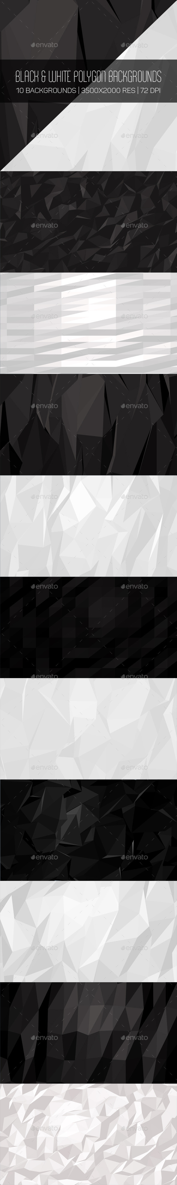 Black & White Polygon Backgrounds - Abstract Backgrounds