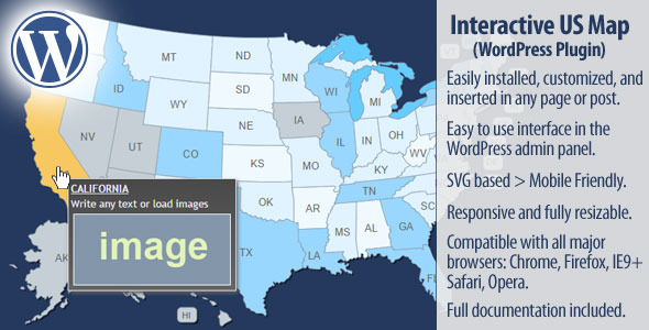 Interactive US Map WordPress Plugin By Art CodeCanyon - Interactive map of us