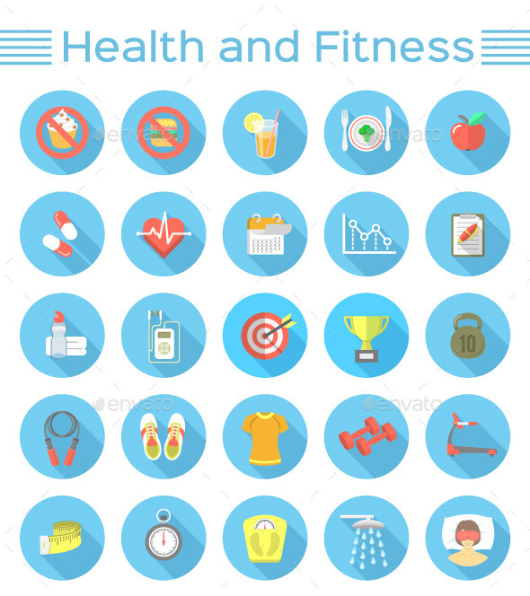Modern Flat Fitness and Wellness Icons - Miscellaneous Icons