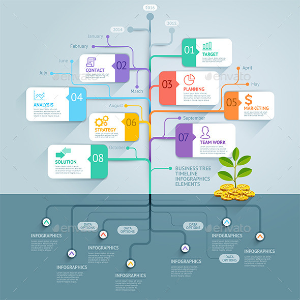 Business Tree Timeline Infographics - Infographics