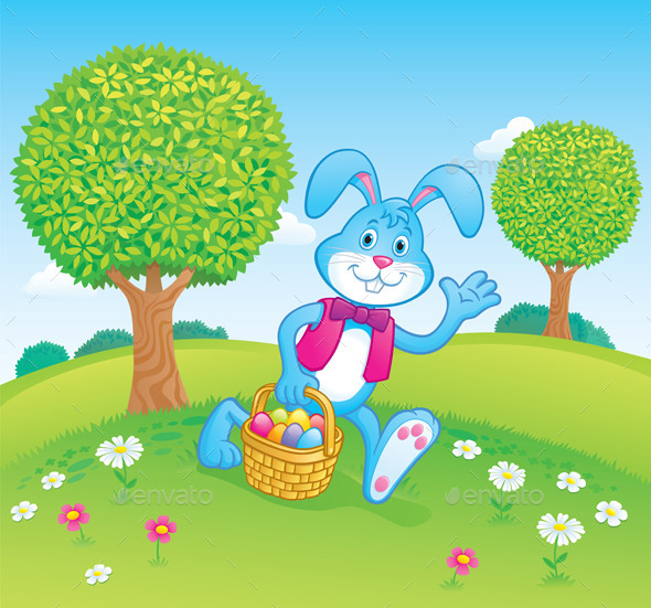 Easter Bunny Carrying Basket Scene - Miscellaneous Seasons/Holidays