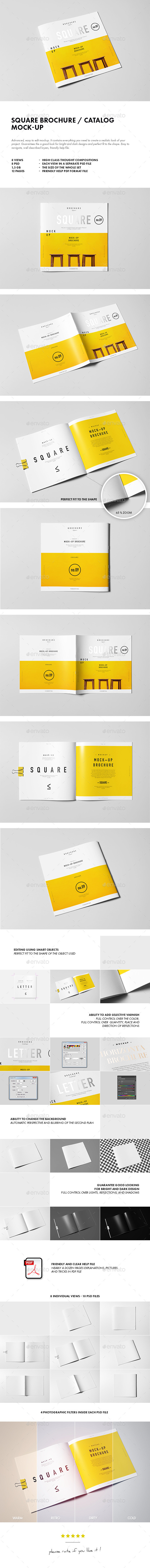 Square Brochure / Catalog / Booklet Mock-up - Brochures Print