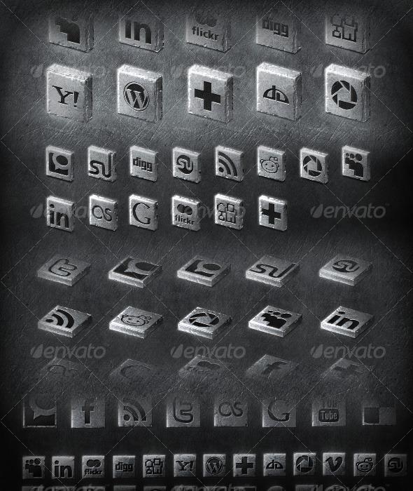20+ metal 2D & 3D social icons set - Web Icons