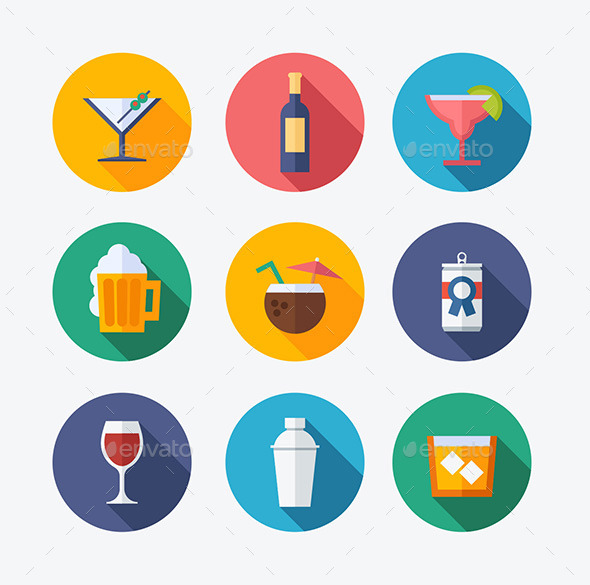 Cocktail Flat Icons - Food Objects