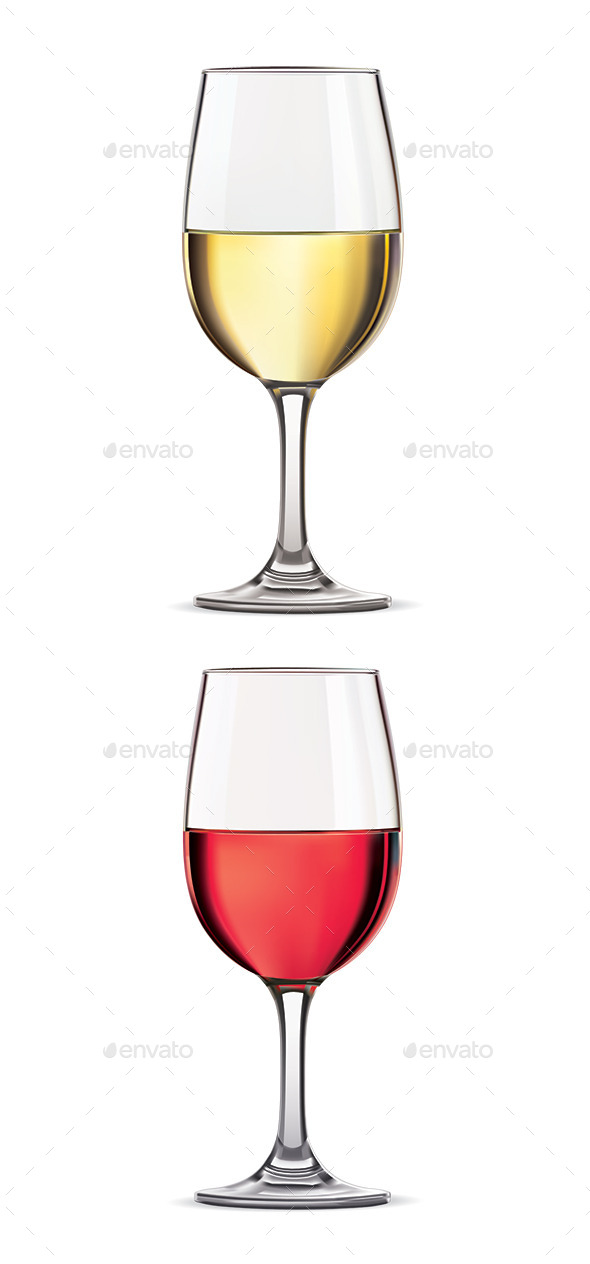 Glass of Red and White Wine - Food Objects
