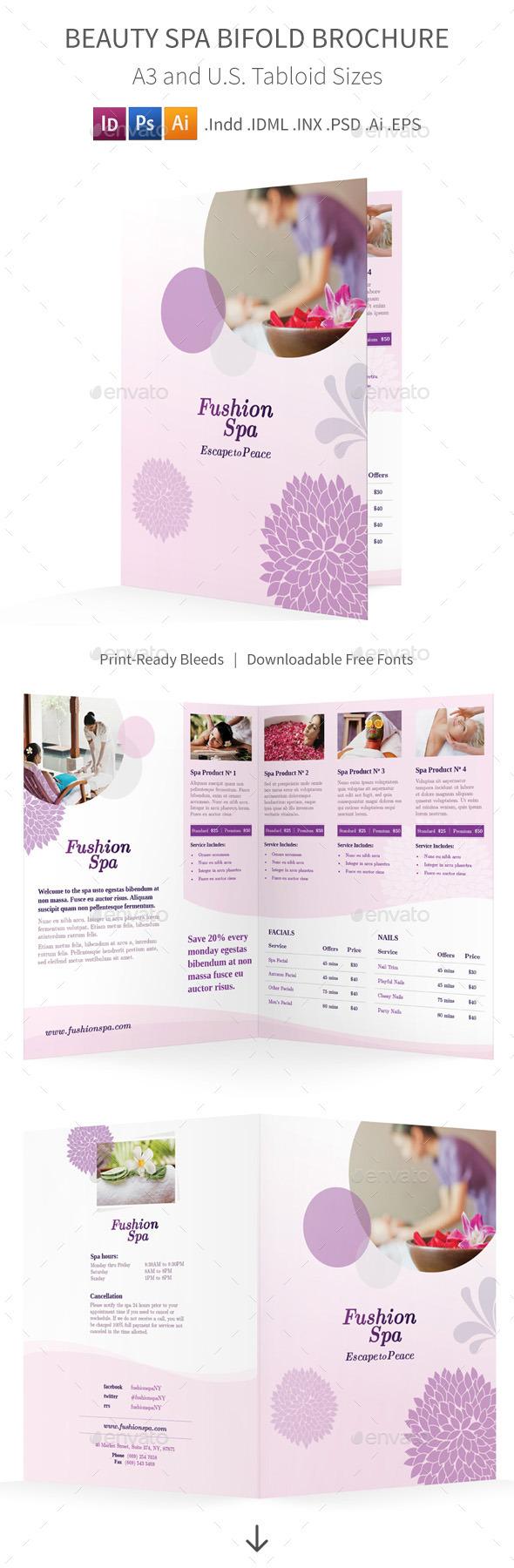 Beauty Spa Bifold / Halffold Brochure - Informational Brochures