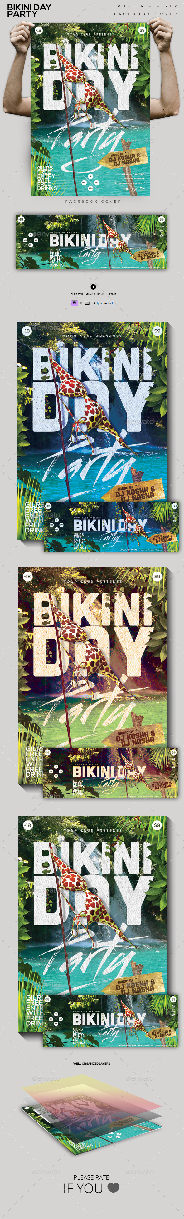 Bikini Day Party Flyer/ Poster/ FB Cover - Clubs & Parties Events