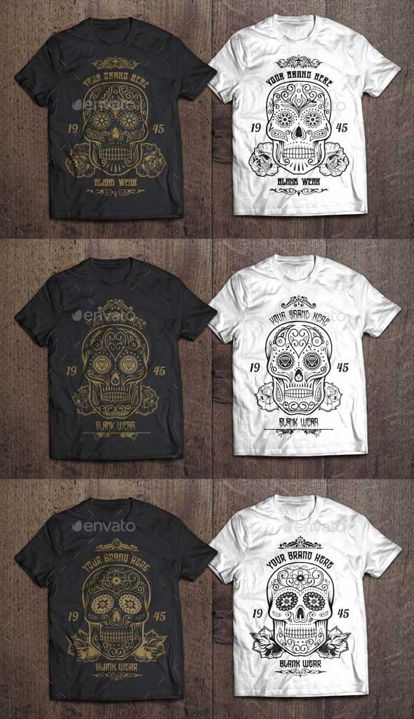 3 T-Shirt Illustration - Sugar Skull Vol.1 - Designs T-Shirts
